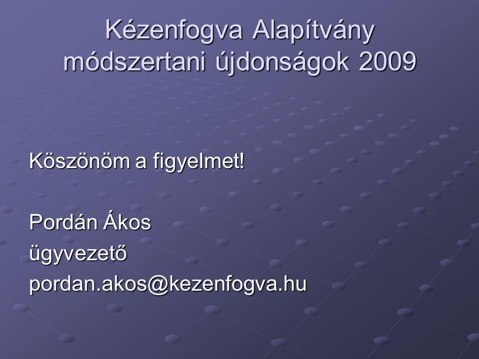 Kézenfogva Alapítvány módszertani újdonságok 2009 Köszönöm a figyelmet.