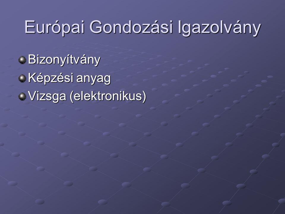 Európai Gondozási Igazolvány Bizonyítvány Képzési anyag Vizsga (elektronikus)