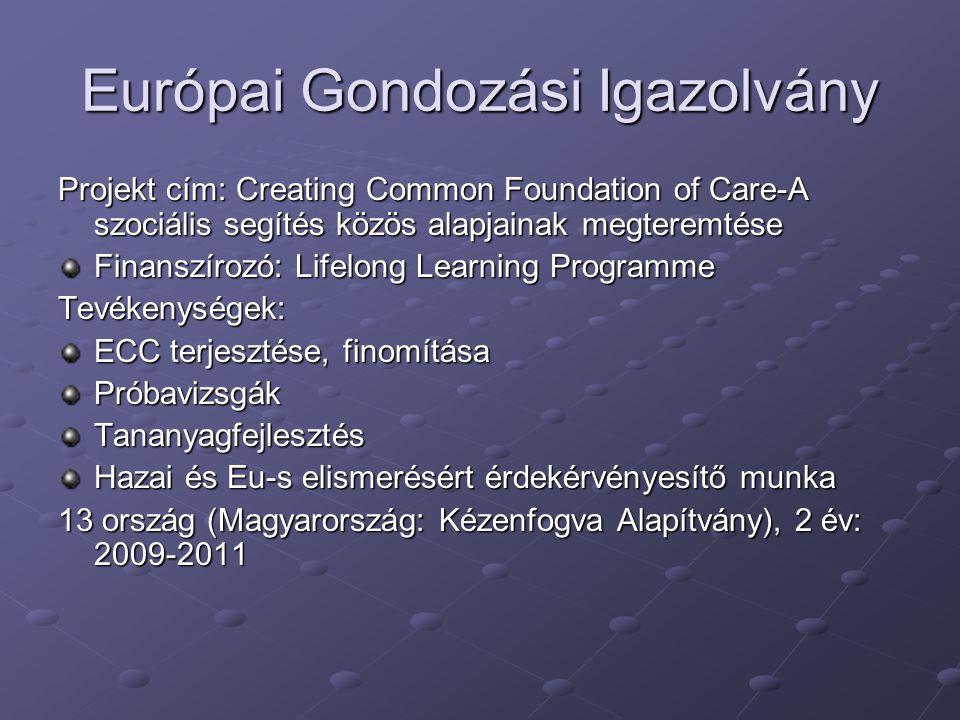 Európai Gondozási Igazolvány Projekt cím: Creating Common Foundation of Care-A szociális segítés közös alapjainak megteremtése Finanszírozó: Lifelong Learning Programme Tevékenységek: ECC terjesztése, finomítása PróbavizsgákTananyagfejlesztés Hazai és Eu-s elismerésért érdekérvényesítő munka 13 ország (Magyarország: Kézenfogva Alapítvány), 2 év: 2009-2011