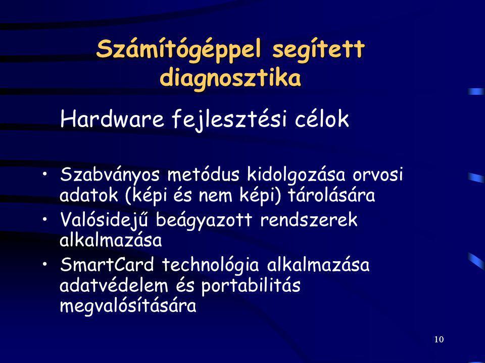 10 Számítógéppel segített diagnosztika Hardware fejlesztési célok Szabványos metódus kidolgozása orvosi adatok (képi és nem képi) tárolására Valósidej