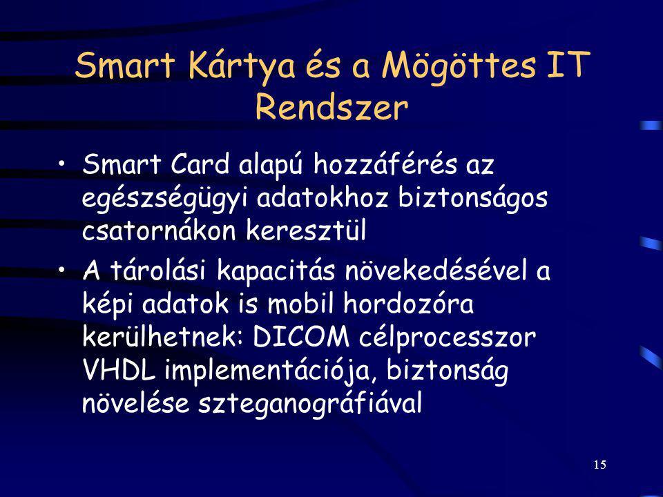 15 Smart Kártya és a Mögöttes IT Rendszer Smart Card alapú hozzáférés az egészségügyi adatokhoz biztonságos csatornákon keresztül A tárolási kapacitás
