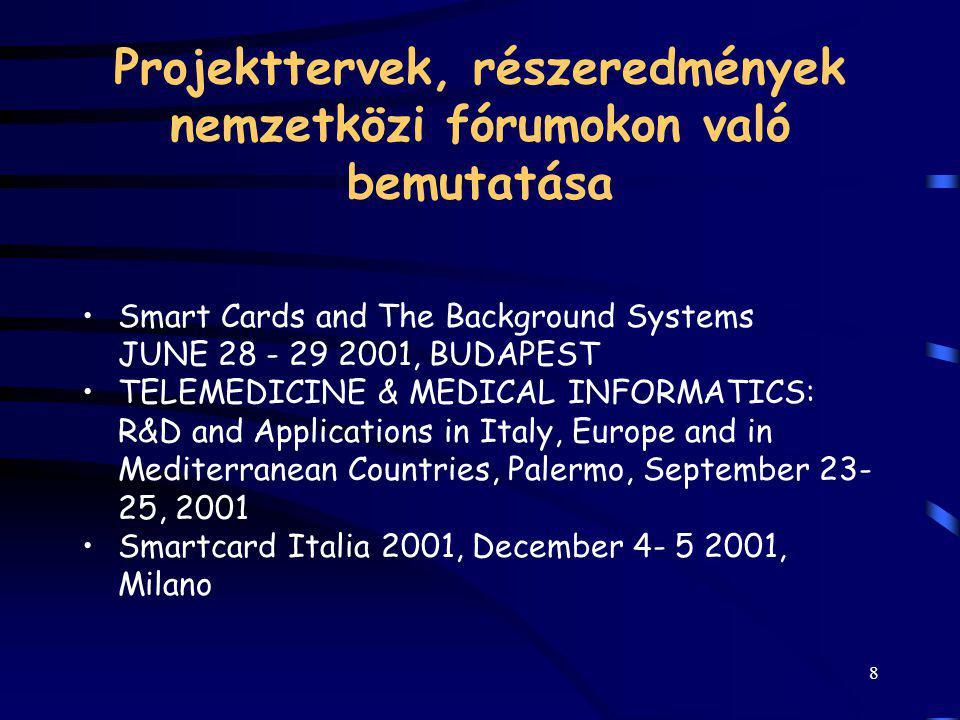 8 Projekttervek, részeredmények nemzetközi fórumokon való bemutatása Smart Cards and The Background Systems JUNE 28 - 29 2001, BUDAPEST TELEMEDICINE &