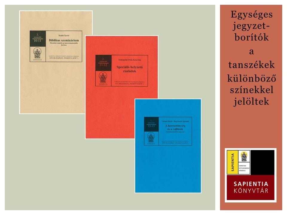 Egységes jegyzet- borítók a tanszékek különböző színekkel jelöltek