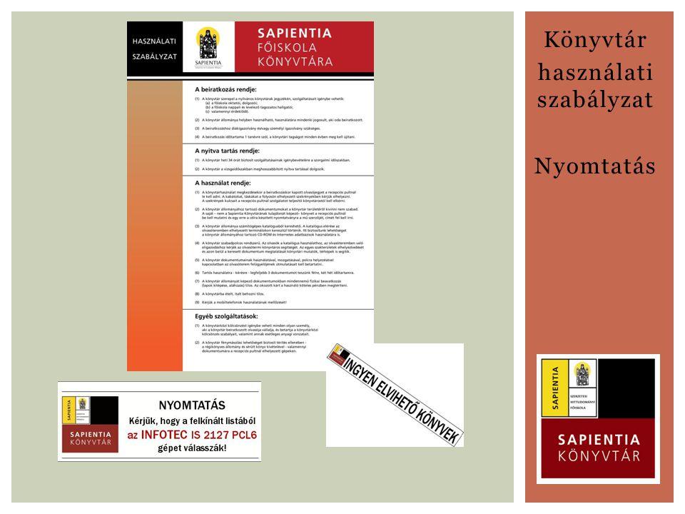 Könyvtár használati szabályzat Nyomtatás