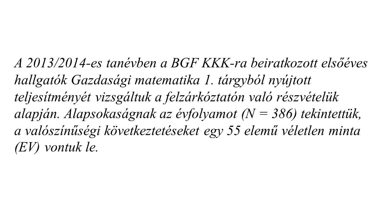 A 2013/2014-es tanévben a BGF KKK-ra beiratkozott elsőéves hallgatók Gazdasági matematika 1. tárgyból nyújtott teljesítményét vizsgáltuk a felzárkózta