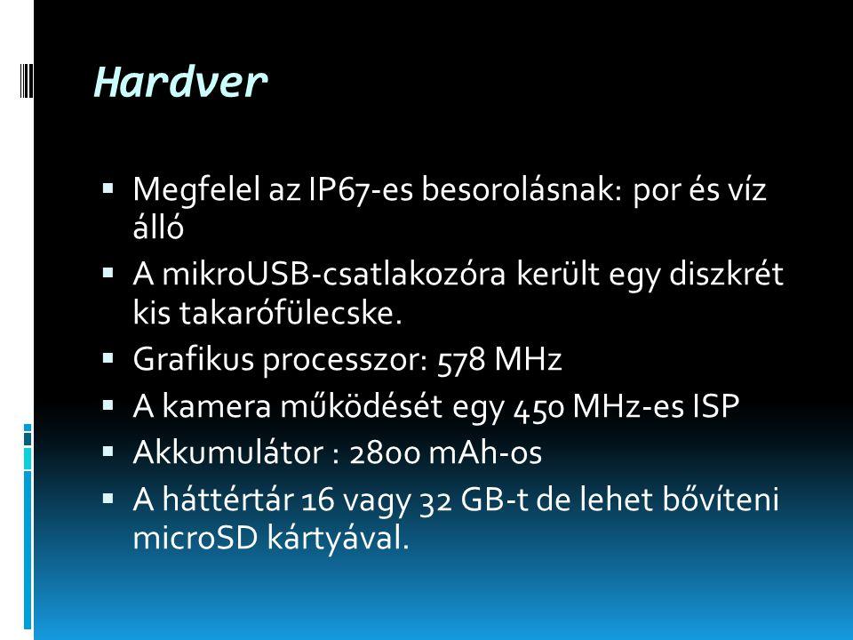 Hardver  Megfelel az IP67-es besorolásnak: por és víz álló  A mikroUSB-csatlakozóra került egy diszkrét kis takarófülecske.