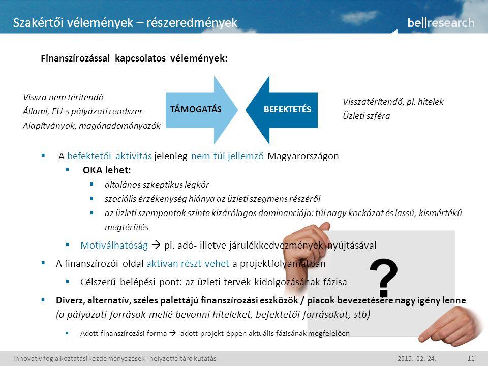 Finanszírozással kapcsolatos vélemények:  A befektetői aktivitás jelenleg nem túl jellemző Magyarországon  OKA lehet:  általános szkeptikus légkör