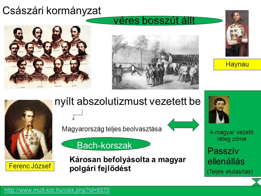 Ferenc József véres bosszút állt Haynau nyílt abszolutizmust vezetett be Császári kormányzat Károsan befolyásolta a magyar polgári fejlődést A Bach-ko