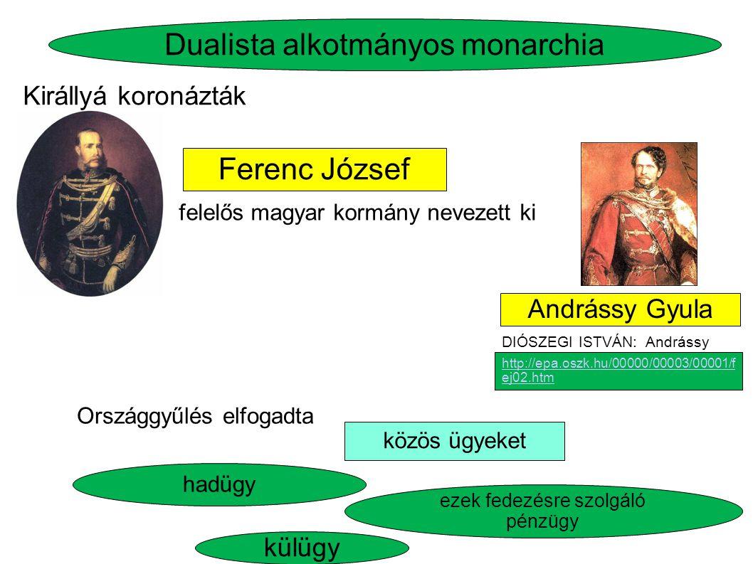 Ferenc József hadügy Dualista alkotmányos monarchia közös ügyeket felelős magyar kormány nevezett ki Országgyűlés elfogadta Királlyá koronázták külügy