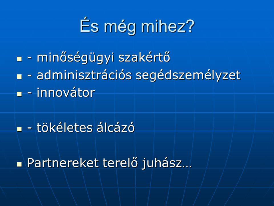 És még mihez? - minőségügyi szakértő - minőségügyi szakértő - adminisztrációs segédszemélyzet - adminisztrációs segédszemélyzet - innovátor - innováto