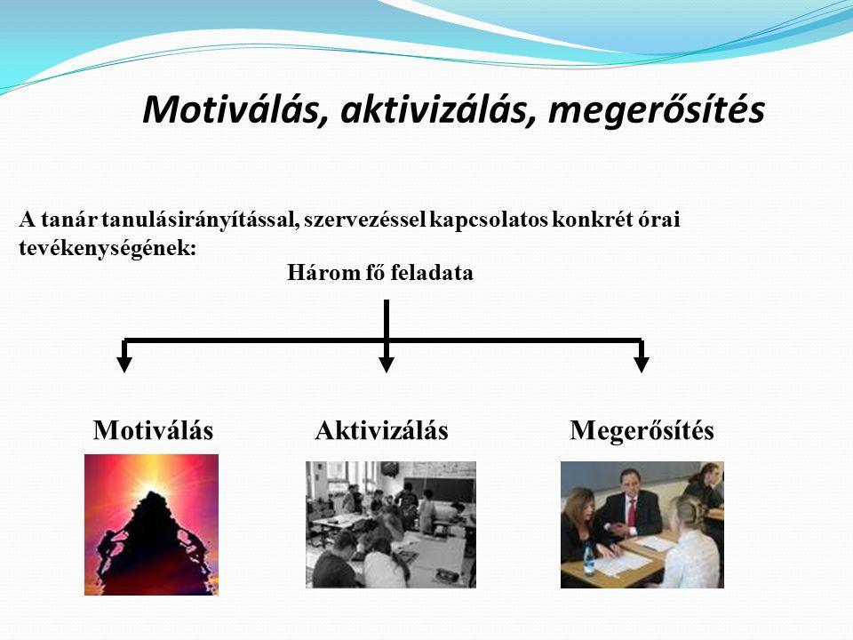 Motiválás, aktivizálás, megerősítés A tanár tanulásirányítással, szervezéssel kapcsolatos konkrét órai tevékenységének: Három fő feladata MotiválásAktivizálásMegerősítés