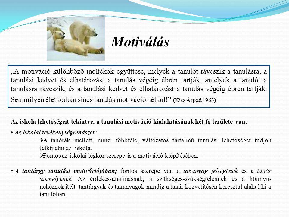 """Motiválás """"A motiváció különböző indítékok együttese, melyek a tanulót ráveszik a tanulásra, a tanulási kedvet és elhatározást a tanulás végéig ébren tartják, amelyek a tanulót a tanulásra ráveszik, és a tanulási kedvet és elhatározást a tanulás végéig ébren tartják."""