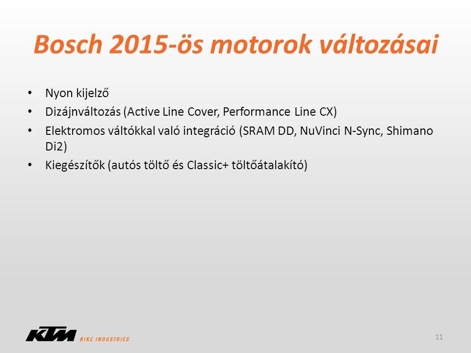Bosch 2015-ös motorok változásai Nyon kijelző Dizájnváltozás (Active Line Cover, Performance Line CX) Elektromos váltókkal való integráció (SRAM DD, N