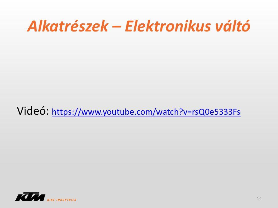 Alkatrészek – Elektronikus váltó 14 Videó: https://www.youtube.com/watch?v=rsQ0e5333Fs https://www.youtube.com/watch?v=rsQ0e5333Fs