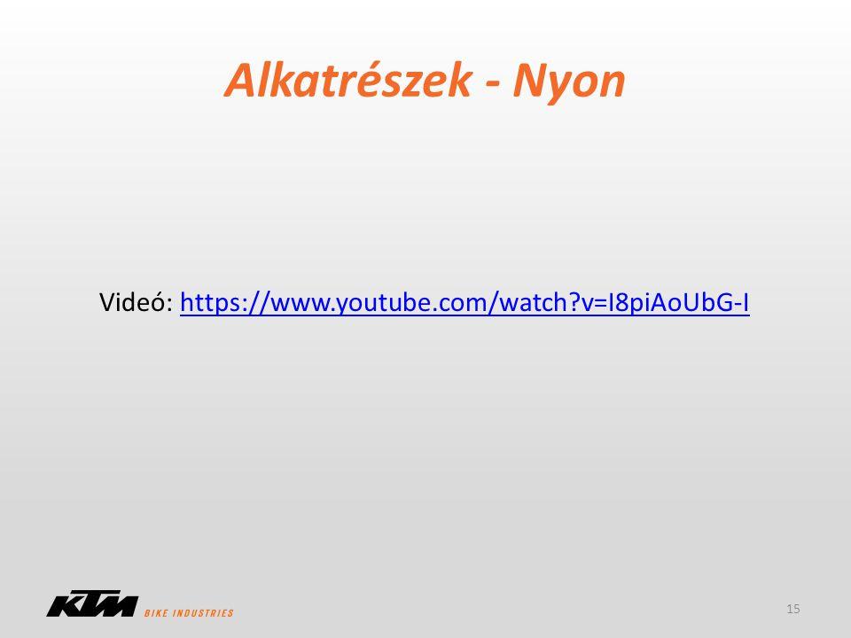 Alkatrészek - Nyon 15 Videó: https://www.youtube.com/watch?v=I8piAoUbG-Ihttps://www.youtube.com/watch?v=I8piAoUbG-I