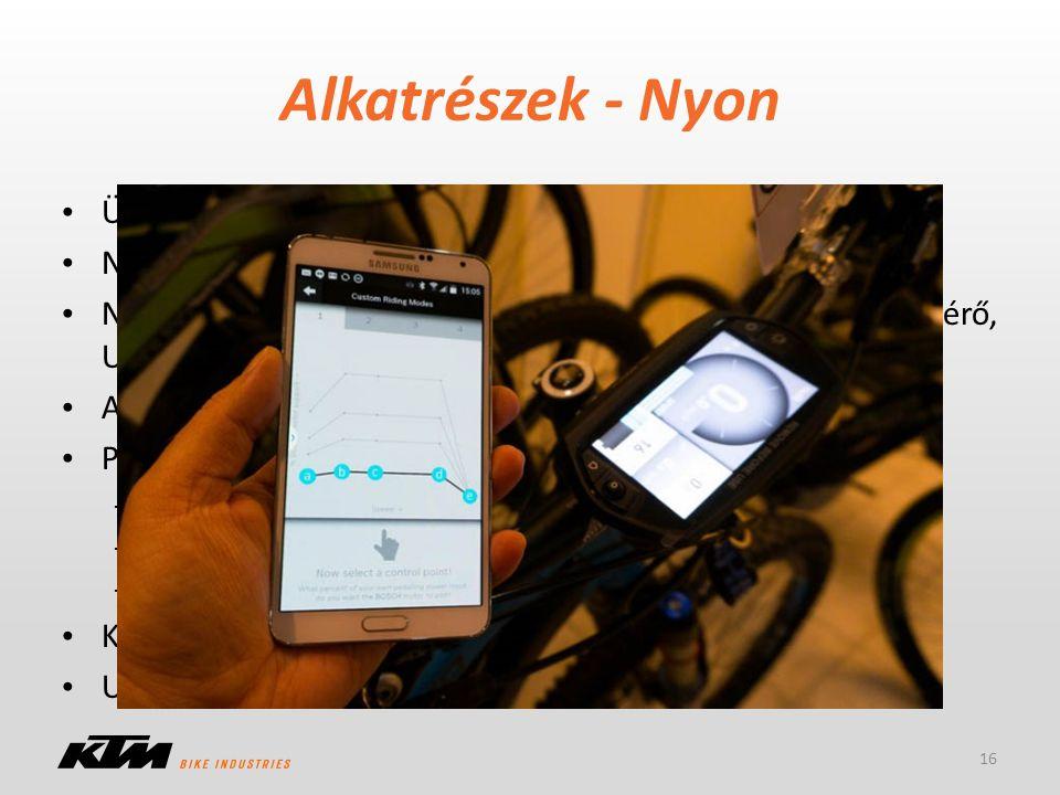 Alkatrészek - Nyon 16 Üzemmódok: Ride, Navi, Fitness Nyon – Mobil – Online Portál (ebike-connect.com) Nyon: Wifi, Bluetooth, GPS, légnyomás, iránytű,