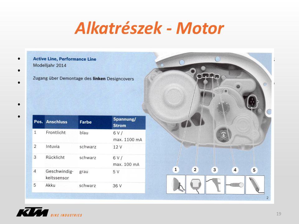 Alkatrészek - Motor Vevői előnyök: alacsony súlypont, rövid tengelytáv, szabad váltóválasztás CAN Bus technológia, vezérlés a motorban Szenzor: 10-fél