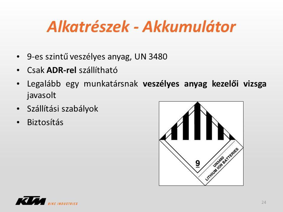 Alkatrészek - Akkumulátor 9-es szintű veszélyes anyag, UN 3480 Csak ADR-rel szállítható Legalább egy munkatársnak veszélyes anyag kezelői vizsga javas