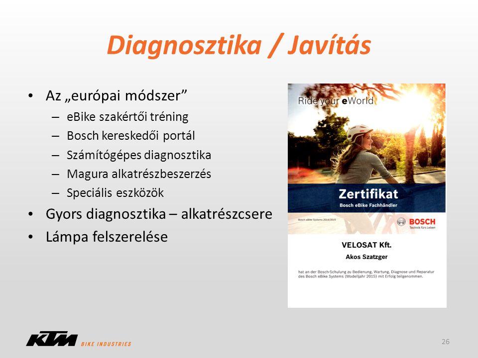 """Diagnosztika / Javítás Az """"európai módszer"""" – eBike szakértői tréning – Bosch kereskedői portál – Számítógépes diagnosztika – Magura alkatrészbeszerzé"""
