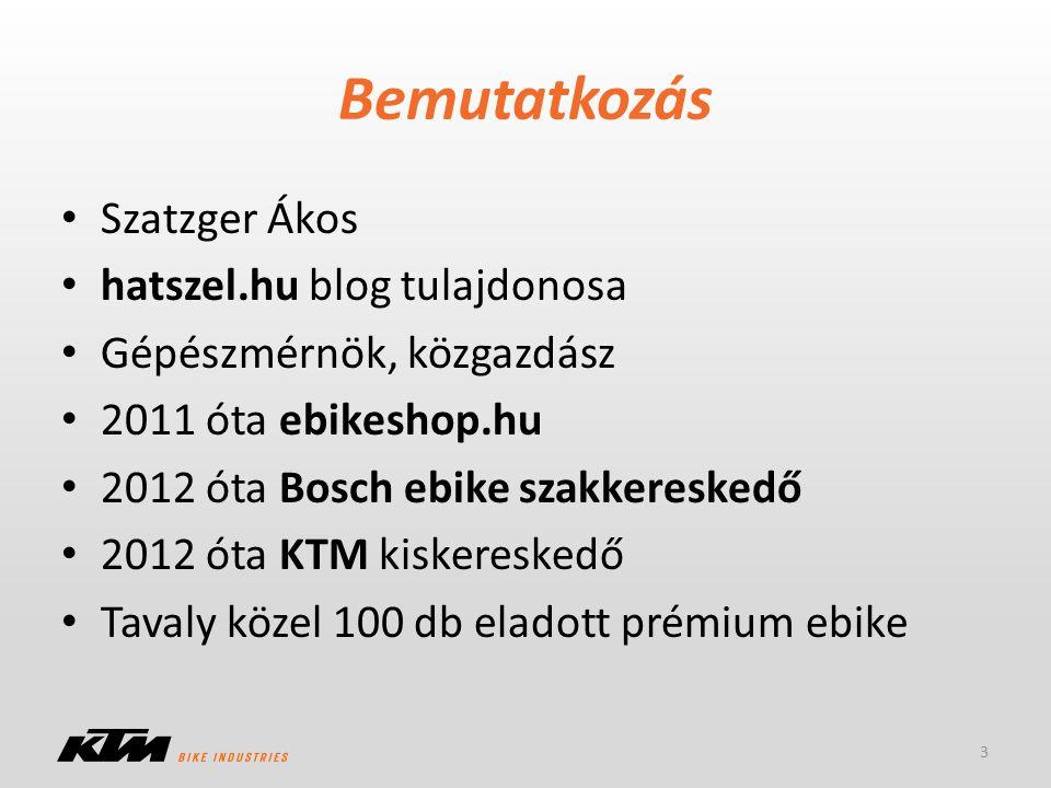 Bemutatkozás Szatzger Ákos hatszel.hu blog tulajdonosa Gépészmérnök, közgazdász 2011 óta ebikeshop.hu 2012 óta Bosch ebike szakkereskedő 2012 óta KTM