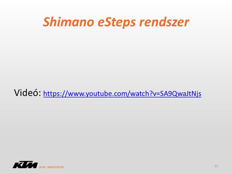 Shimano eSteps rendszer 31 Videó: https://www.youtube.com/watch?v=SA9QwaJtNjs https://www.youtube.com/watch?v=SA9QwaJtNjs