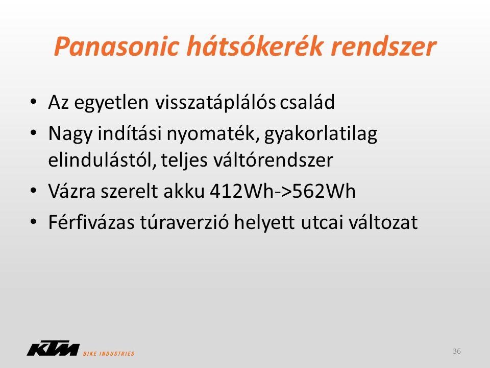 Az egyetlen visszatáplálós család Nagy indítási nyomaték, gyakorlatilag elindulástól, teljes váltórendszer Vázra szerelt akku 412Wh->562Wh Férfivázas