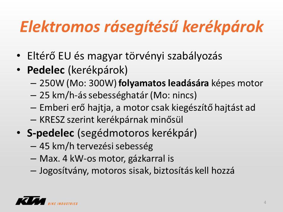 Elektromos rásegítésű kerékpárok Eltérő EU és magyar törvényi szabályozás Pedelec (kerékpárok) – 250W (Mo: 300W) folyamatos leadására képes motor – 25