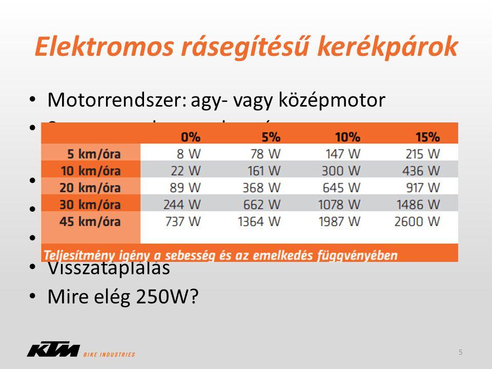 Elektromos rásegítésű kerékpárok Motorrendszer: agy- vagy középmotor Szenzorrendszer: sebesség vagy nyomatékszenzor, ennek kombinációja Li akkumulátor