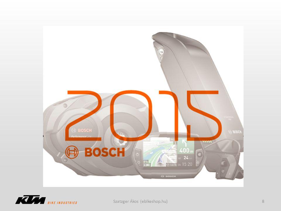 Bosch motorrendszerek 2012: Classic motor, 288Wh- ás akksi 2013: Intuvia kijelző, 300/400Wh-ás akksi 2014: Active Line és Performance Line, új akkumulátor formák 2015: Nyon kijelző, s-pedelec 9