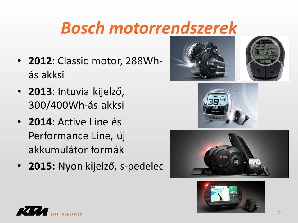 Bosch motorrendszerek 2012: Classic motor, 288Wh- ás akksi 2013: Intuvia kijelző, 300/400Wh-ás akksi 2014: Active Line és Performance Line, új akkumul