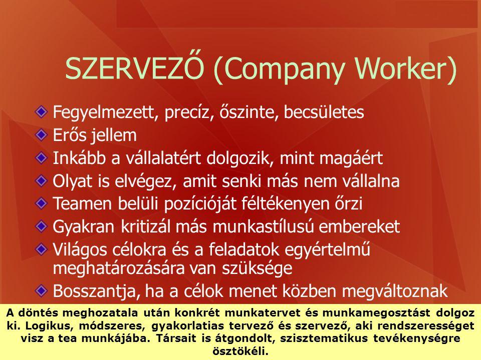 SZERVEZŐ (Company Worker) Fegyelmezett, precíz, őszinte, becsületes Erős jellem Inkább a vállalatért dolgozik, mint magáért Olyat is elvégez, amit sen