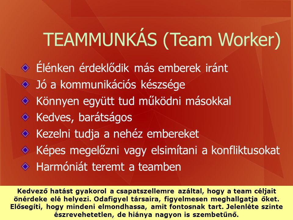 TEAMMUNKÁS (Team Worker) Élénken érdeklődik más emberek iránt Jó a kommunikációs készsége Könnyen együtt tud működni másokkal Kedves, barátságos Kezel