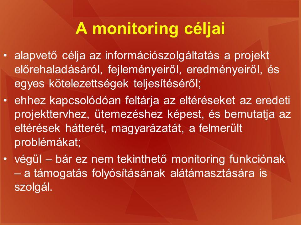 A monitoring céljai alapvető célja az információszolgáltatás a projekt előrehaladásáról, fejleményeiről, eredményeiről, és egyes kötelezettségek telje
