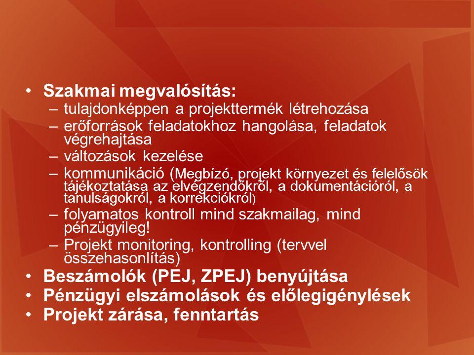 A működtetési időszak monitoringja a támogatási szerződésben meghatározott (PEJ); a projekt záró monitoringja (ZPEJ).