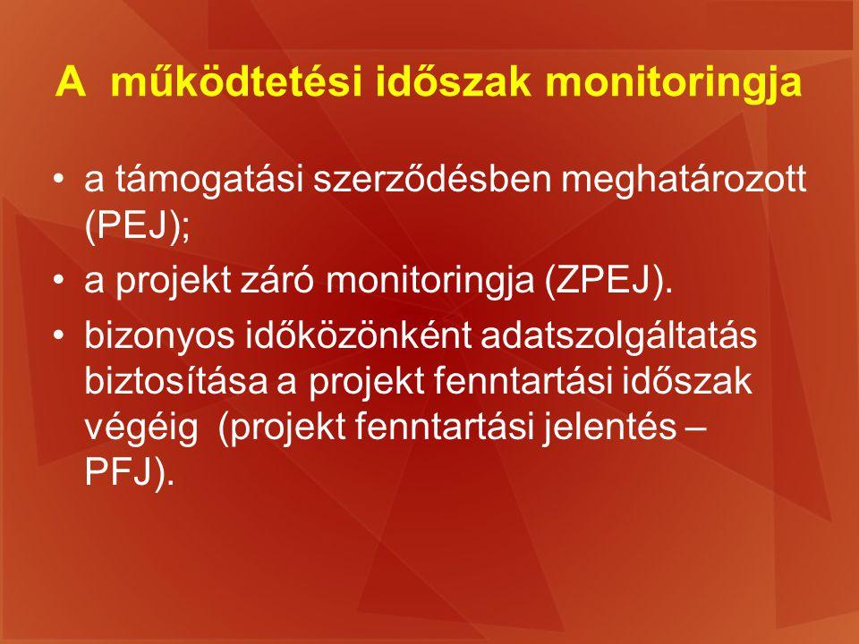 A működtetési időszak monitoringja a támogatási szerződésben meghatározott (PEJ); a projekt záró monitoringja (ZPEJ). bizonyos időközönként adatszolgá
