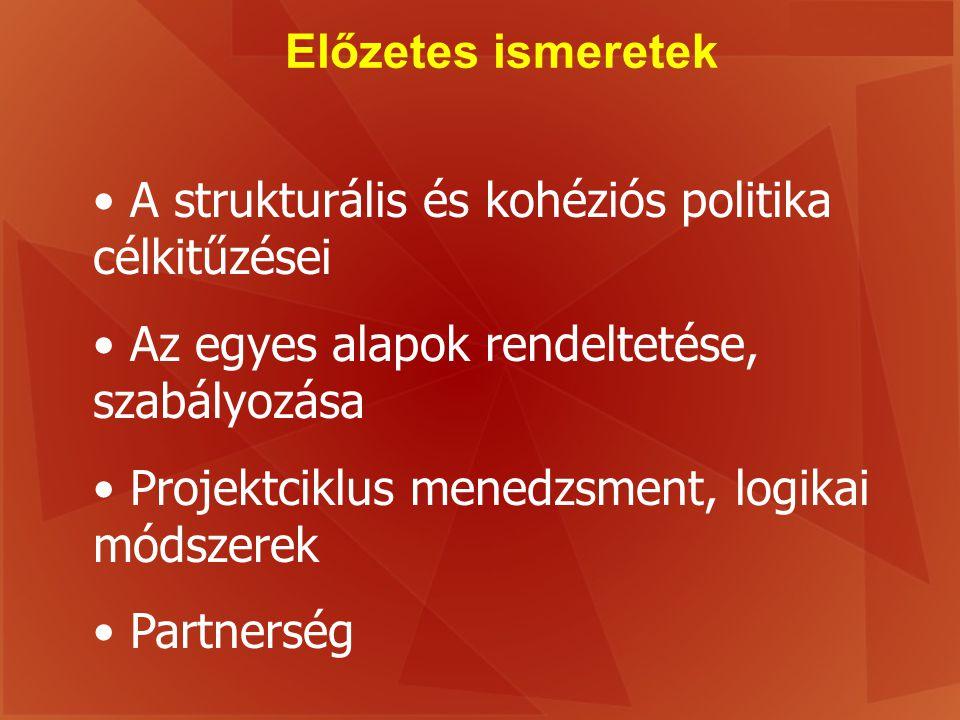 Előzetes ismeretek A strukturális és kohéziós politika célkitűzései Az egyes alapok rendeltetése, szabályozása Projektciklus menedzsment, logikai móds