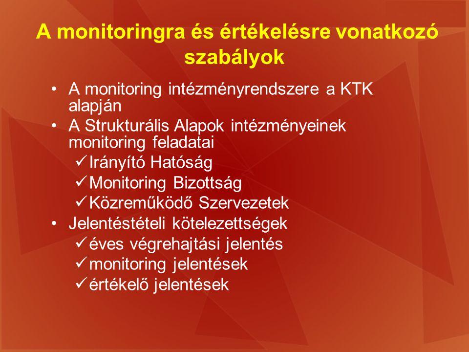 A monitoringra és értékelésre vonatkozó szabályok A monitoring intézményrendszere a KTK alapján A Strukturális Alapok intézményeinek monitoring felada