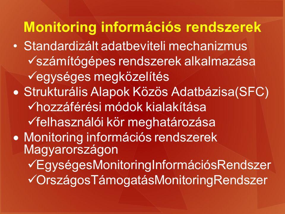 Monitoring információs rendszerek Standardizált adatbeviteli mechanizmus számítógépes rendszerek alkalmazása egységes megközelítés  Strukturális Alap
