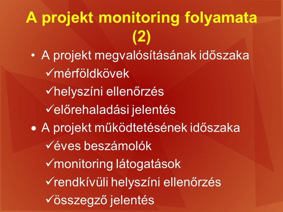 A projekt monitoring folyamata (2) A projekt megvalósításának időszaka mérföldkövek helyszíni ellenőrzés előrehaladási jelentés  A projekt működtetés