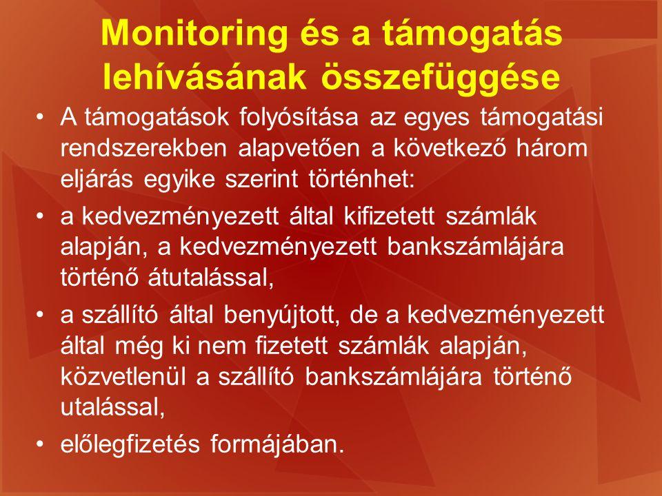 Monitoring és a támogatás lehívásának összefüggése A támogatások folyósítása az egyes támogatási rendszerekben alapvetően a következő három eljárás eg