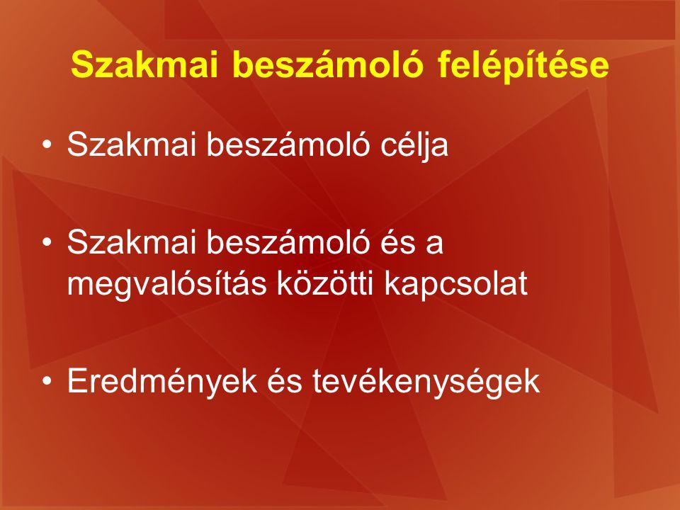 Szakmai beszámoló felépítése Szakmai beszámoló célja Szakmai beszámoló és a megvalósítás közötti kapcsolat Eredmények és tevékenységek