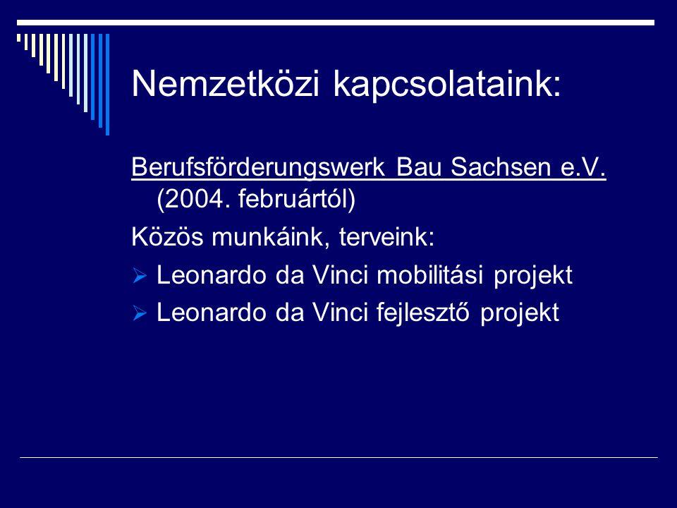 Nemzetközi kapcsolataink: Berufsförderungswerk Bau Sachsen e.V. (2004. februártól) Közös munkáink, terveink:  Leonardo da Vinci mobilitási projekt 