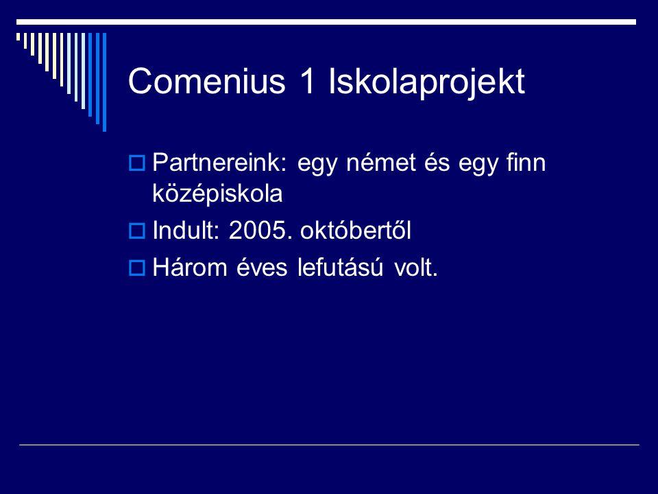 Comenius 1 Iskolaprojekt  Partnereink: egy német és egy finn középiskola  Indult: 2005. októbertől  Három éves lefutású volt.
