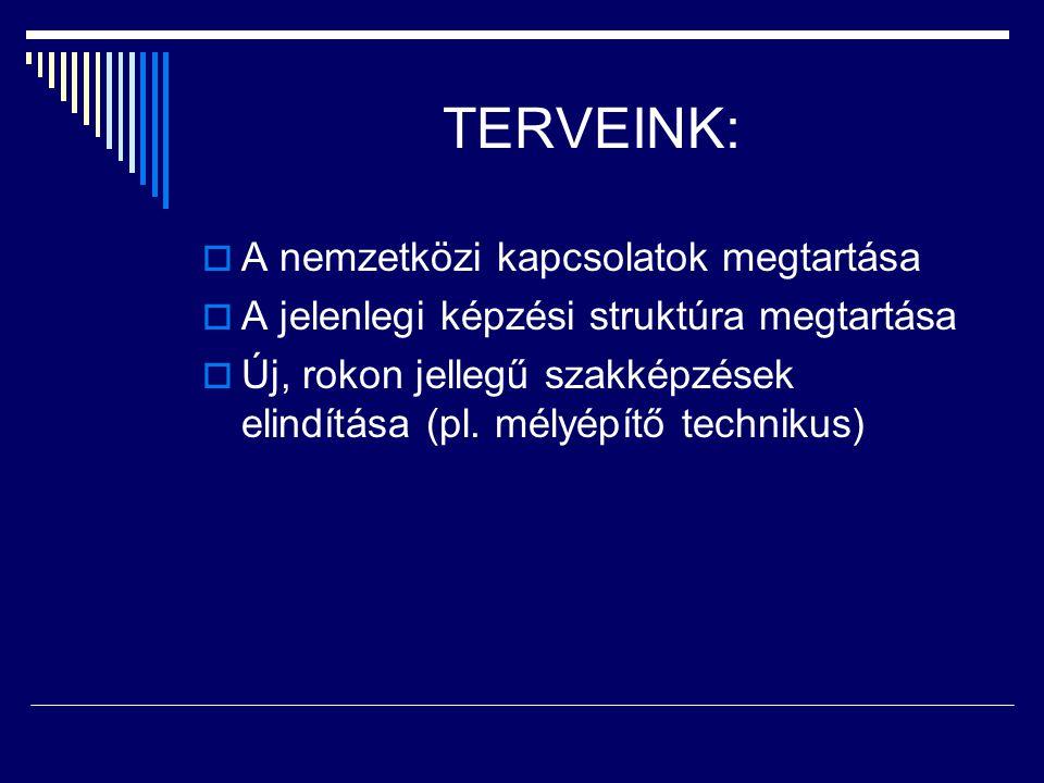 TERVEINK:  A nemzetközi kapcsolatok megtartása  A jelenlegi képzési struktúra megtartása  Új, rokon jellegű szakképzések elindítása (pl. mélyépítő