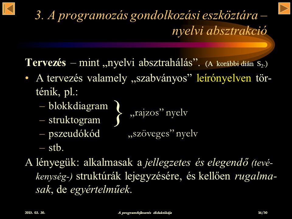 2015.03. 30. A programfejlesztés didaktikája 16/50 3.