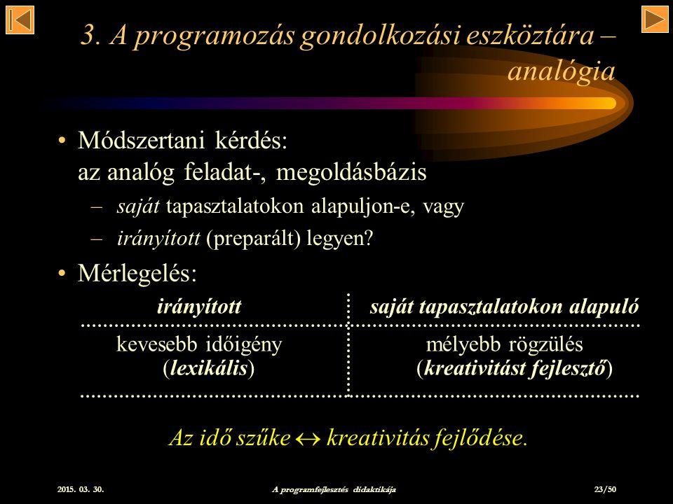2015.03. 30. A programfejlesztés didaktikája 23/50 3.
