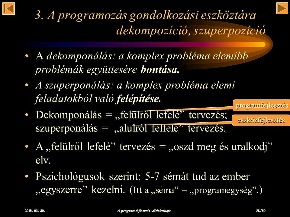 2015.03. 30. A programfejlesztés didaktikája 28/50 3.