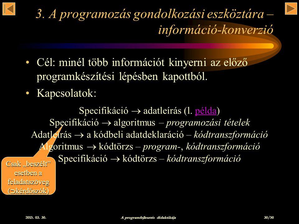 2015.03. 30. A programfejlesztés didaktikája 30/50 3.