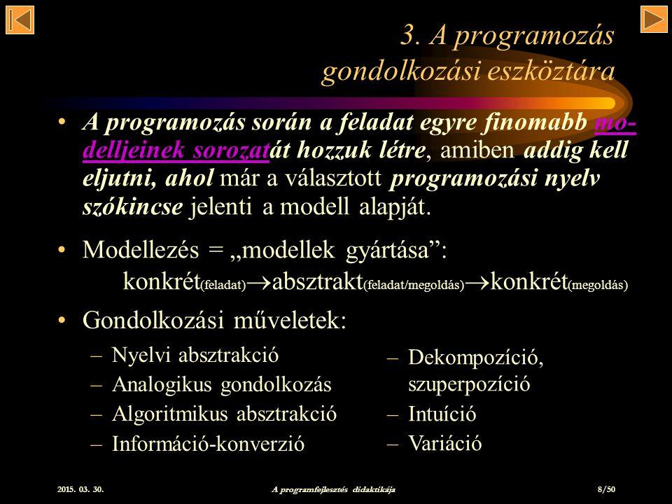 2015.03. 30. A programfejlesztés didaktikája 8/50 3.