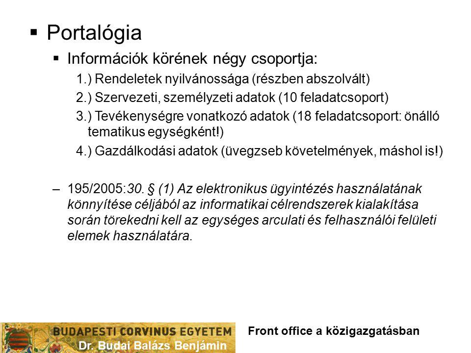  Portalógia  Információk körének négy csoportja: 1.) Rendeletek nyilvánossága (részben abszolvált) 2.) Szervezeti, személyzeti adatok (10 feladatcso